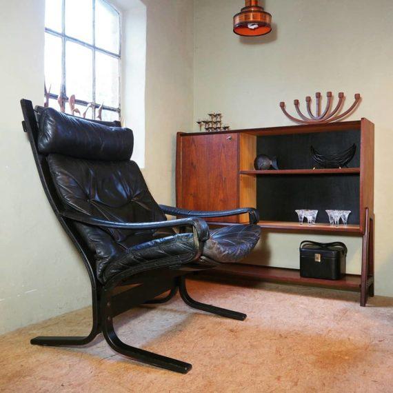 Siësta chair by Ingmar Relling, Noors design - Zwart leer, mooie vintage conditie, kleine reparatie aan armlegger - sold