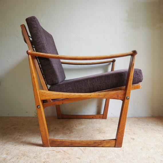 60's Deense Spade chair - Fauteuil van M. Nissen, Pastoe - eiken - goede staat, de bruine bekleding en kussens ook - sold
