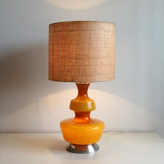 Tafellamp Okergeel met linnen ~ met licht in kap én voet -sold