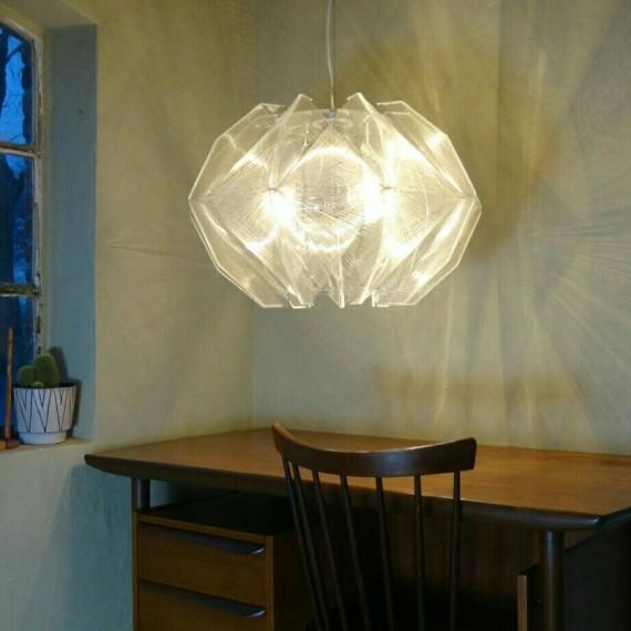 Grote (diameter 65cm) Hanglamp Paul Secon, Sompex. Nylondraad Perspex. - Sold