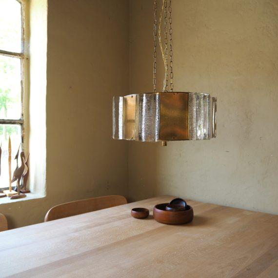 Vitrika Hanglamp - Brass met zware ijsglas blokken rondom en onderop een glazen schijf - incl. messing plafondkap - Sold