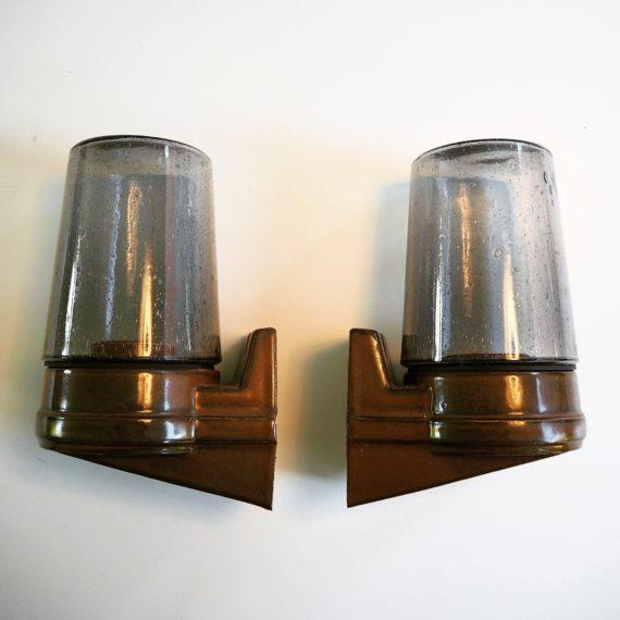 Set wandlampen Sigvard Bernadotte voor Ifö Sweden - Keramiek en bubbel rookglas - sold