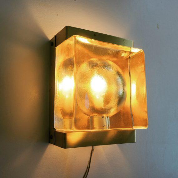 VITRIKA Wandlamp - brass en dik glas - 16,5x12x9 cm - sold