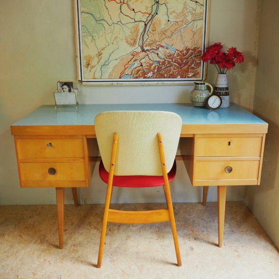 Jaren 50 Ekawerk Bureau HornLippe German design desk - zachtblauw formica blad - setprijs incl. stoel - sold