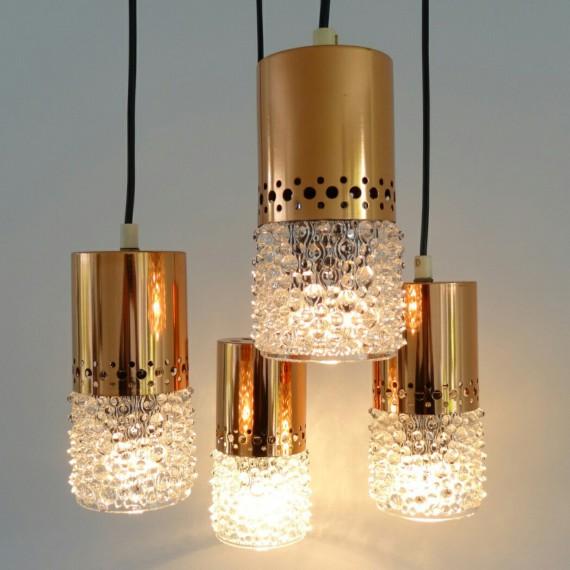 4 st. Zweeds design vintage Hanglampen Koper en Bubbelglas - opnieuw bedraad totaal 150 hoog - zijn niet precies gelijk, 2 hebben iets ruimer en helderder glas - €45 per stuk