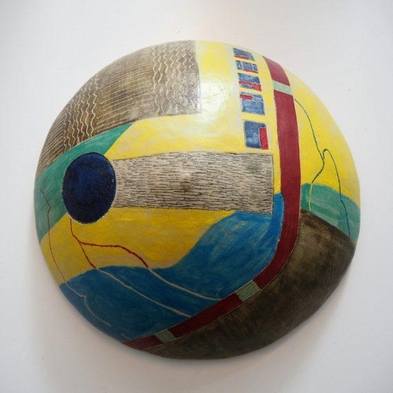 Wandsculptuur René Kaiser - Retro bolle tegel keramiek ø30cm - sold