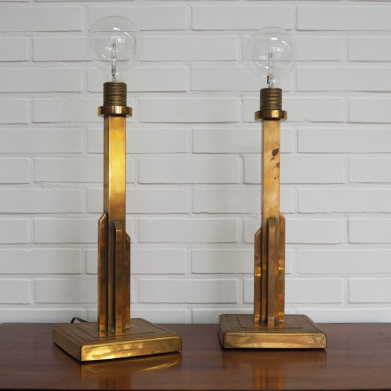 2 Messing HERDA Tafellampen, jaren 70 - Dutch design Brass Table Lamps - H45cm - sold