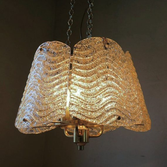 Carl Fagerlund Orrefors Lamp zwaar glas en messing - Zweeds design ø44cm H30cm Totale H140cm - €195