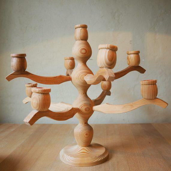 Zweedse houten Kandelaar - Hemslöjd Padal - 9 armig - sold