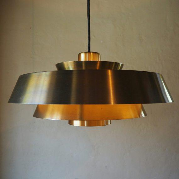2 stuks beschikbaar; Lamp NOVA - Danish design Jo Hammerborg Fog&Mørup - Ø42 H140cm brass - incl. plafondkap - zeer goede staat - €600