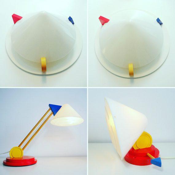 Postmodern design jaren 80 Ikea; Set lampen - 2 stuks grote plafondlamp / wandlamp, een tafellamp en een wandlamp - Memphis style - Sold