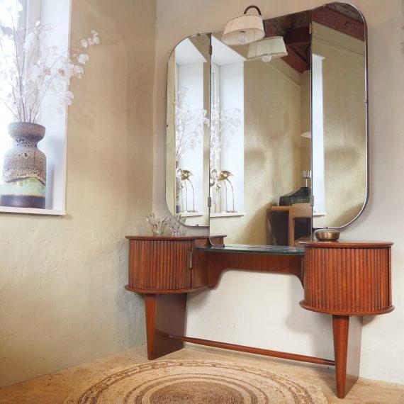 Kaptafel met verlichting - A.A. Patijn, Zijlstra Joure - goede staat - H158 B120cm D36cm Hoogte glasplaat 52cm - €600