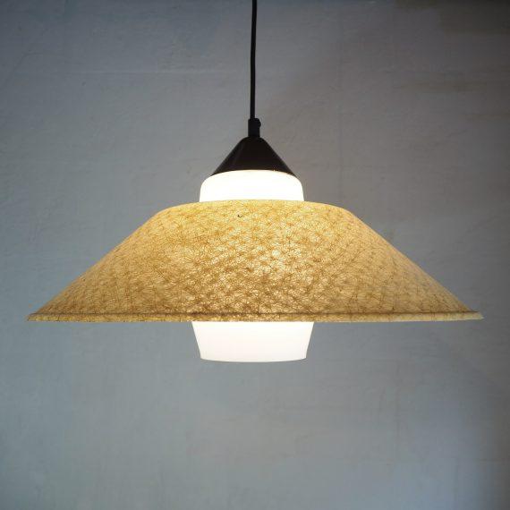 Hanglamp by Louis Kalff, Philips - Dutch design - Opaline bol met kap van glasfiber / fiberglass - in zeer goede vintage staat - sold