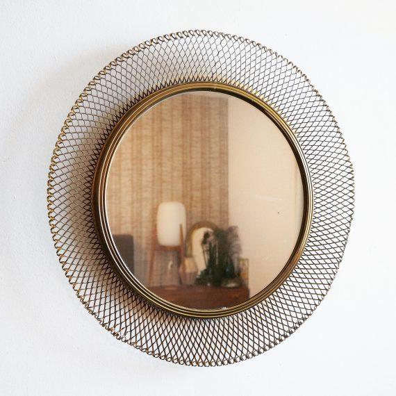 50's Messing ronde Spiegel - Vintage Brass Mirror Ø45cm - sold