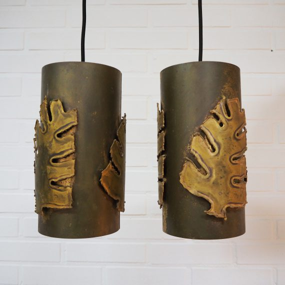 Set Deense Messing Hanglampen van Svend Aage Holm Sørensen - Monstera Pendants Danish design - Setprijs €530