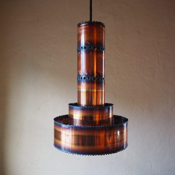 Hanglamp Svend Aage Holm Sorensen - Danish design 60ies - zuurbehandeld koper - Ø20cm H33cm - €95