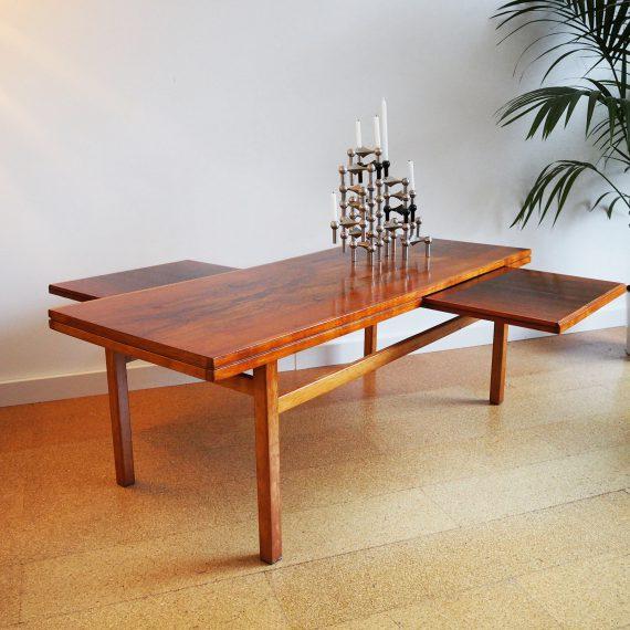 60's Palissander Salontafel met twee extra uitschuifbare tafelbladen - 135x52cmH47cm - Rosewood Coffee Table - sold