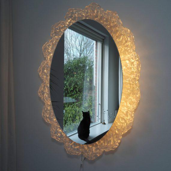 Vintage ijsglas Hillebrand Spiegel met verlichting - 80x60cm - zeer goede staat - sold