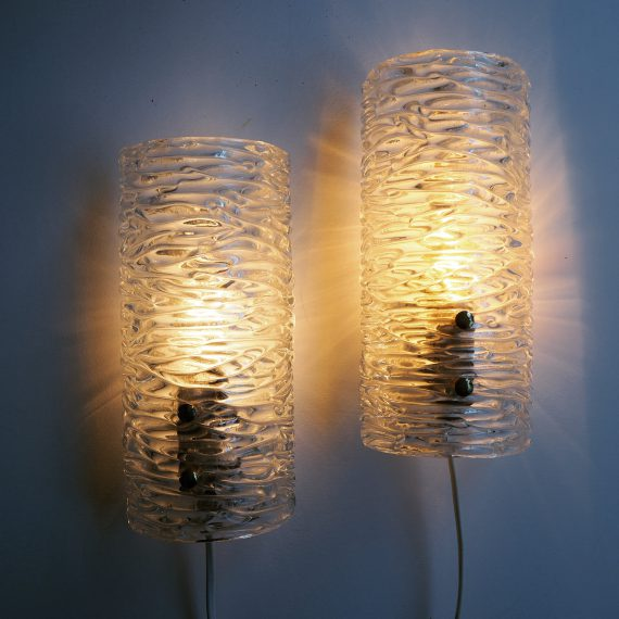 Set ijsglas wandlampen - Pair of wall lamps by Carl Fagerlund, Orrefors - 23x11x7cm - Setprijs €280