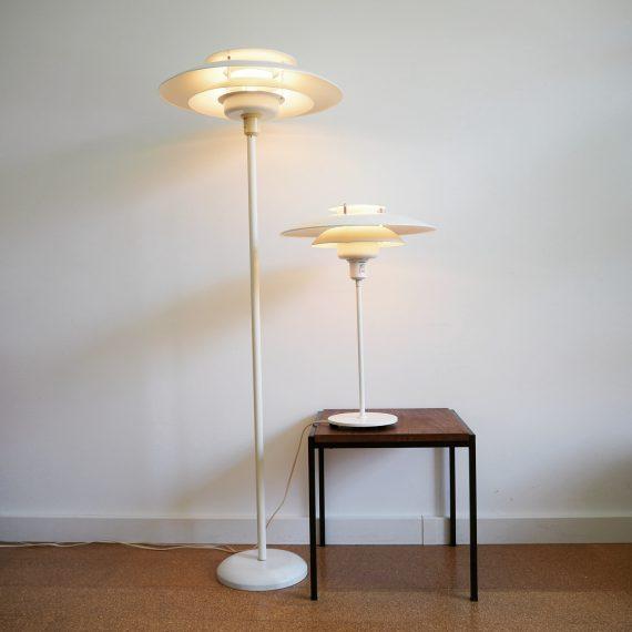 Vintage Danish design Vloerlamp en Tafellamp - Schalenlamp set - H135 en 55cm - €325 en €275