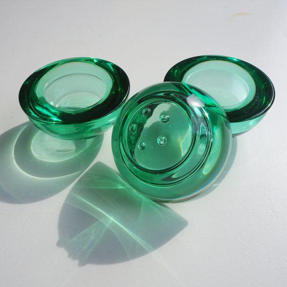 3 smaragdgroene Waxinehouders Ballo van Iittala Fins design - p/st €15