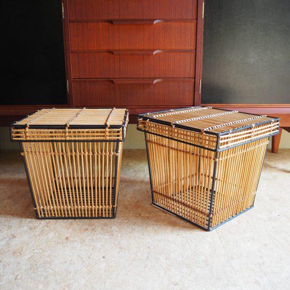 2 stuks beschikbaar - Opbergmand Rohé Noordwolde - rotan / bamboe met zwart metalen frame - 32x32x32cm - per stuk €50