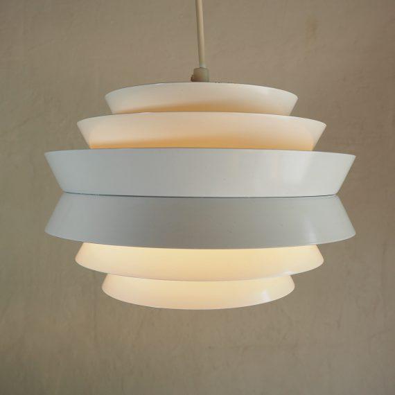 Vintage Hanglamp TRAVA wit - Carl Thore voor Granhaga Metalindustri Sweden, 70's - Ø25cm H18cm - €253