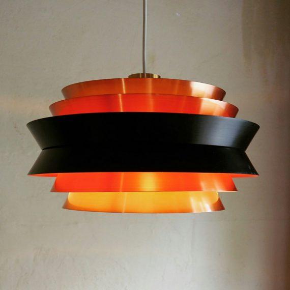 Vintage koperen Hanglamp TRAVA - Carl Thore voor Granhaga Metalindustri Sweden, 70's - Ø36cm H22cm - sold