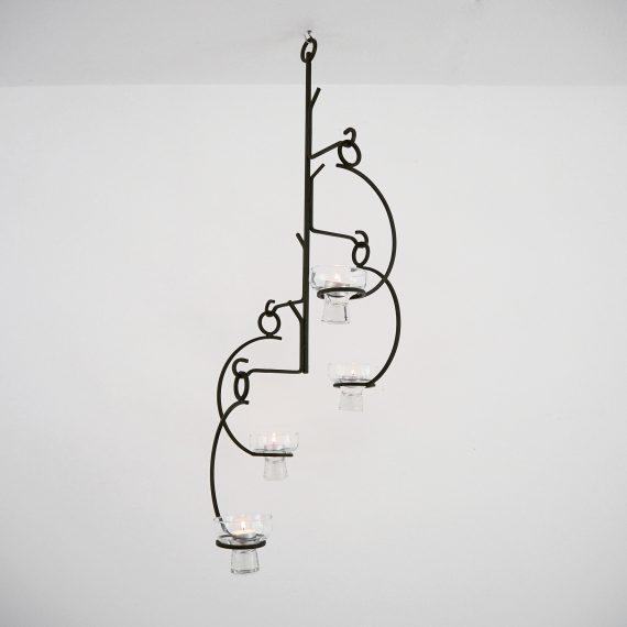 Gietijzeren Chandelier / Kroonluchter / Hang kandelaar - 60's Swedish design - H70cm - €95