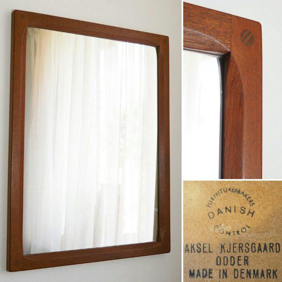 60's teak Spiegel Deens design - Aksel Kjersgaard - 44x59cm, 1 kleine reparatie aan de lijst - Teak Danish Mirror - sold