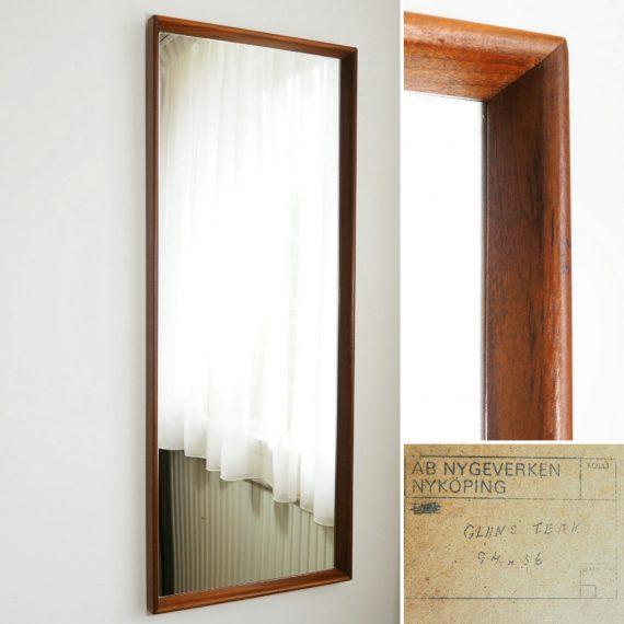 Vintage Zweeds design Teak Spiegel Passpiegel - 94x36cm - Teak Swedish Mirror - €275