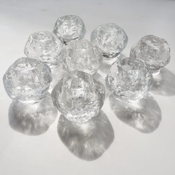 8 stuks Waxinelichthouders / Candleholders Snowball by Ann Wärff for Kosta Boda Sweden - H7cm - p/st €25