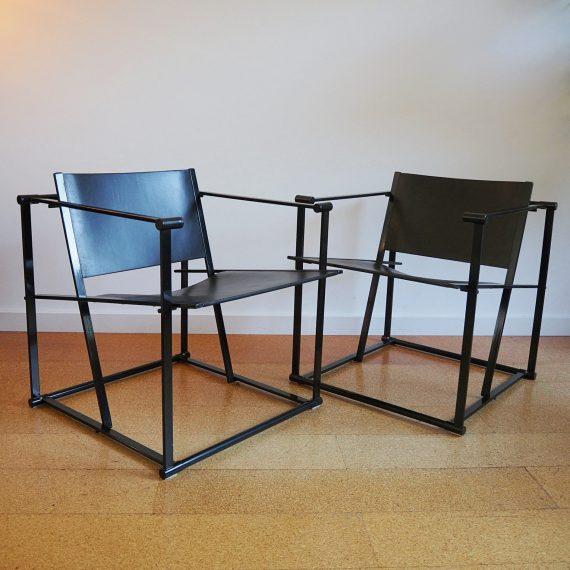 Cubic chairs FM61 Radboud van Beekum ( Gerrit Rietveld Akademie ) voor Pastoe, 1984 - 62x69x68xzith41cm - metalen frame met zwart (over)geverfde plywood zitting en rugleuning - in goede vintage staat - Setprijs €1200