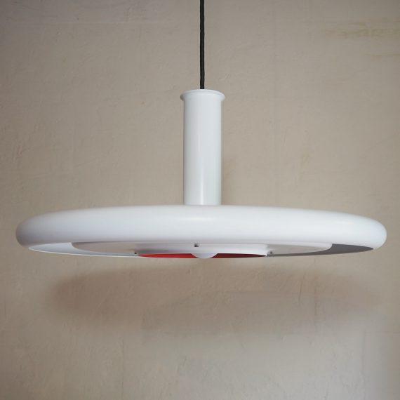 70's OPTIMA 6 by Hans Due, Fog & Mørup - Vintage Danish design - Wit, in zeer goede staat - ø50cm - met witte ronde platte metalen plafondkap - €395