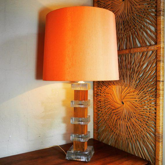 Vintage Teak & Glas Zweeds design Tafellamp - Carl Fagerlund, Orrefors, Sweden - sold