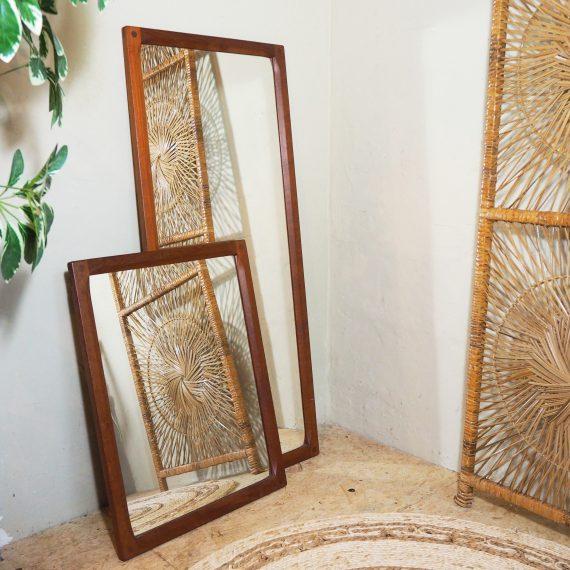 60's teak Spiegel Deens design - Aksel Kjersgaard - Vintage Teak Danish Mirror # 44x105cm en 44x59cm (1 kleine reparatie aan de lijst) - Sold