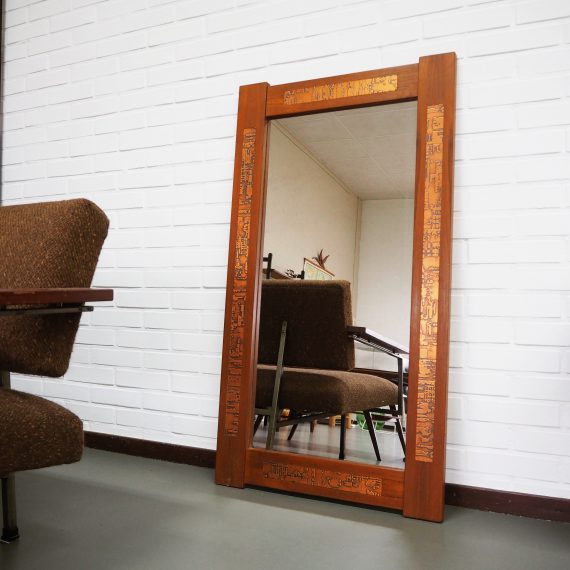 Grote Deense Spiegel teak met koper-inleg - Vintage Danish design mirror teak and copper inlay - 110x60cm - €195