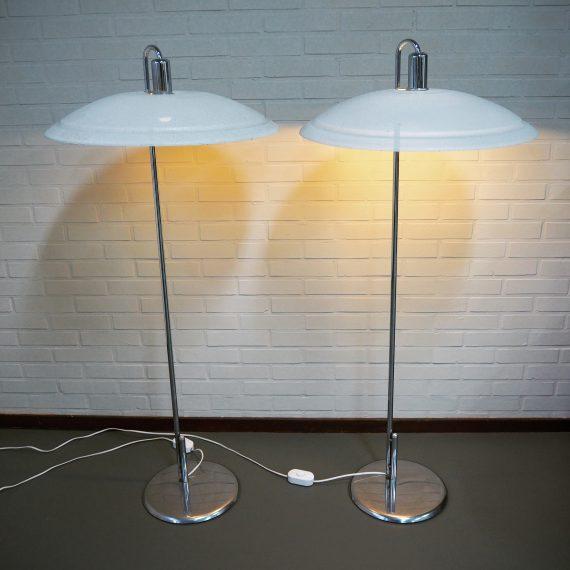 Set 70's Zweeds design ZERO Vloerlampen / Swedish Floor lamps by Börge Lindau & Bo Lindekrantz - H130cm Ø58cm - Setprijs €860