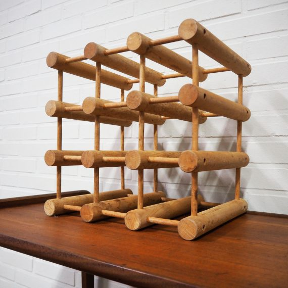 Vintage teak Deens design Wijnrek / Danish design Wine Rack by Richard Nissen 35x35xd28cm - €88