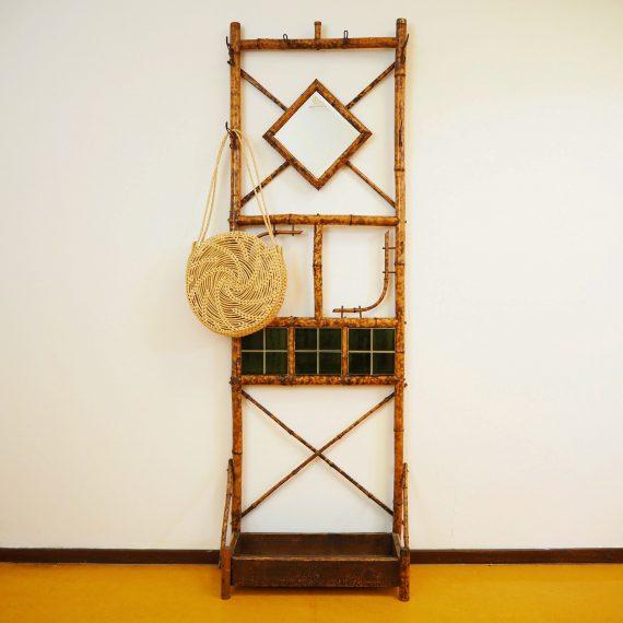 Vintage Bamboe Kapstok met Spiegel - B60xH180xD30cm - wat reparaties aan de achterkant - €75