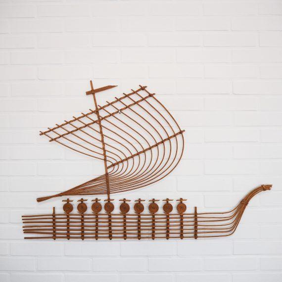 Rotan Wandsculptuur Viking Schip - Rattan Viking Ship vintage design Wall sculpture - H62xB98cm - in nieuwstaat - sold