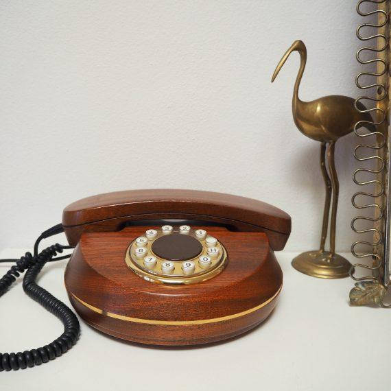 Vintage design PTT Telefoon uit 1987 in mahonie hout en messing met drukknoppen - in zeer goede staat `€125