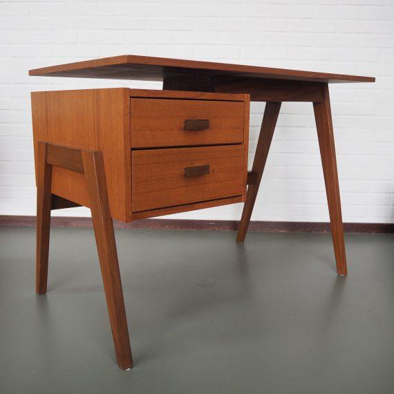 Teak Topform Bureau (gemerkt) met 2 lades - 100x57cm H71cm - in goede vintage staat - Vintage Dutch Topform design Desk - sold