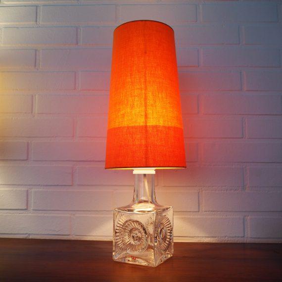 60's Kosta Boda crystal Tafellamp Lamp met nieuwe kap - signed Ove Sandeberg - €195