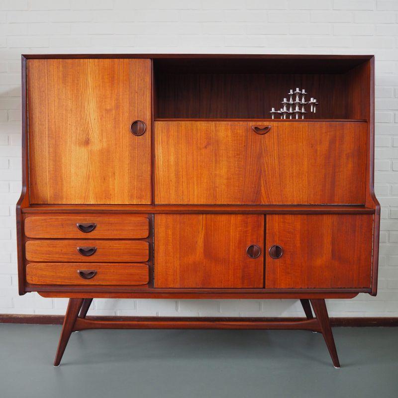 Kast / Highboard Combi nr. 105 by Louis van Teeffelen voor Wébé, jaren 60 Dutch design - 150x48cm H134cm - zeer goede staat, enkel bovenop wat kringen - een open vak, een klepvak, 3 lades, een breed vak onder en links een gedeelte met spiegelwand - mail voor meer foto's! - sold