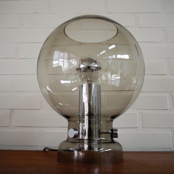 Vintage 60's 70's rookglazen Tafellamp by Glashütte Limburg - H30cm ø25cm - zeer goede staat - € 275