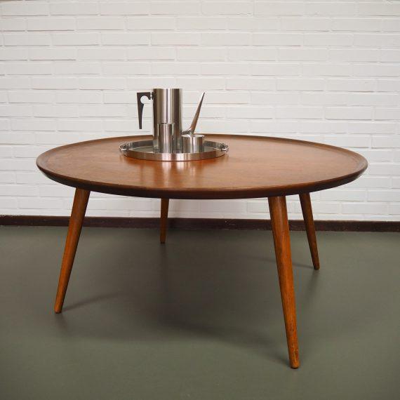 Teak Salontafel / Coffee Table by William Watting for Fristho, 60s - in goede gebruikte staat, de poten zijn er eens opnieuw onder gezet - Ø100cm H47cm - € 245