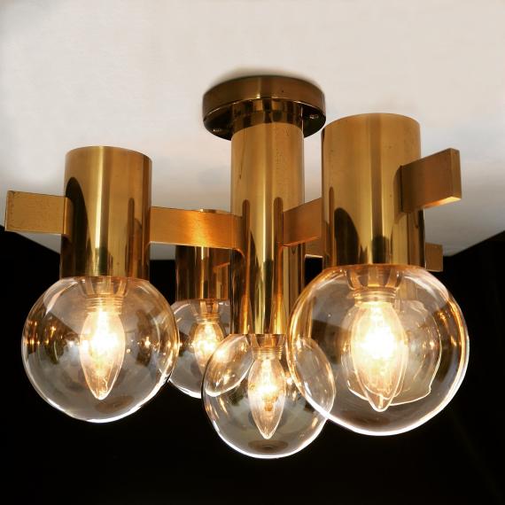 Brass & Glass Plafondlamp - Ceiling Lamp - Hans Agne Jakobsson - 5 bollen - sold