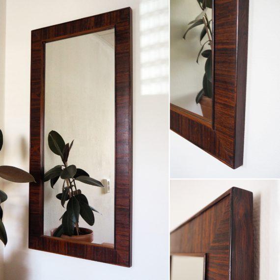 Grote Wandspiegel / Passpiegel Deens design jr. 60 / 70 - Prachtig palissander hout, afwerking van hoge kwaliteit, de spiegel is ook perfect - 101x48 cm - Danish Mid Century design Rosewood Mirror - €675