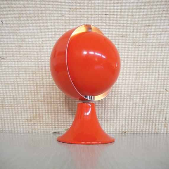 Eclips Tafellamp Hustadt Leuchten - de binnenste schaal is volledig draaibaar - oranje, in goede vintage staat, wat kleine plekjes lak er af - H21cm ø14cm - €115